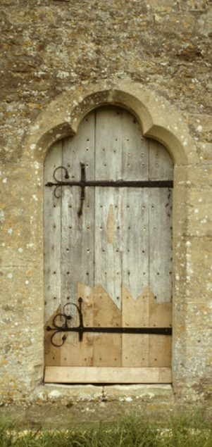 Repaired north door