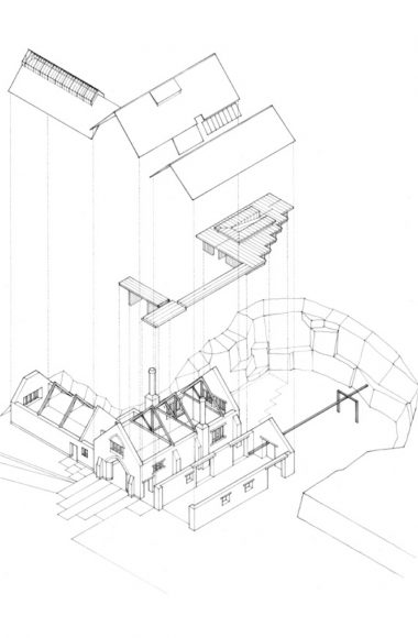 Isometric illustration of new service wing inserted between existing buildings